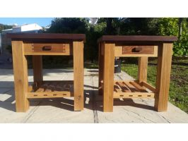 Pair of bedside tables - Oak, imbuia and panga panga. Through mortices cut with one of my Adjustable Saddle Mortice Jigs. Made by Leon Jacques Theron. (added 20160929)